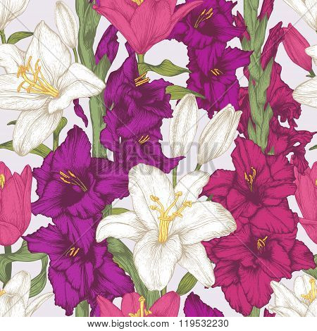 Vector flowers seamless pattern with hand drawn gladiolus flowers and white lilies.