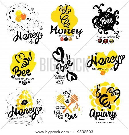 Bee logo. Sweet honey logo. Handmade logotype on the theme of beekeeping.