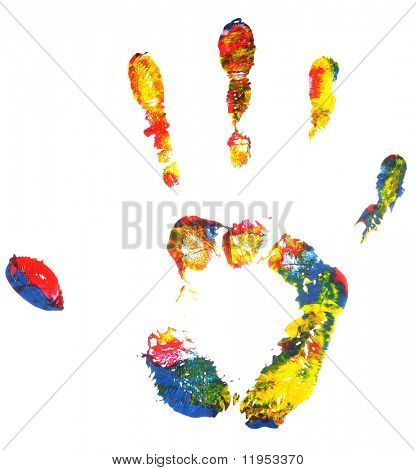 Impresión multicolor mano
