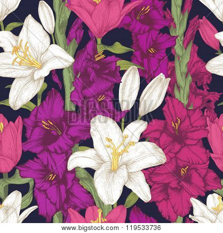 Vector flowers seamless pattern with hand drawn gladiolus flowers and white lilies