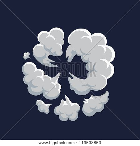 Smoke dust explosion cartoon frame