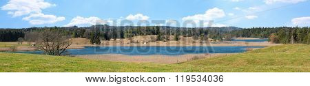 Panoramic View To Osterseen Lakes And Marshland, Bavarian Landscape