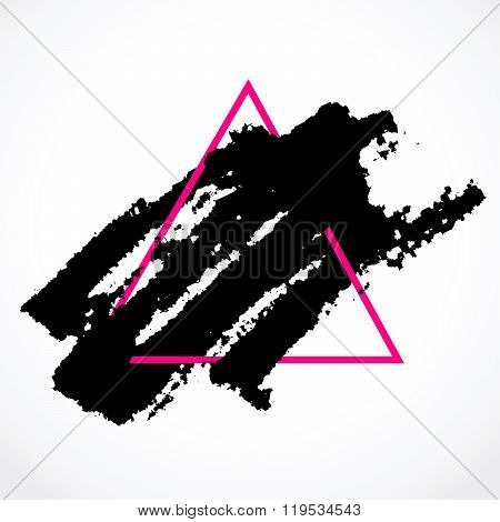 Ink Brush In A Pink Triangular Frame