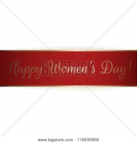 Happy Womens Day realistic greeting red Ribbon