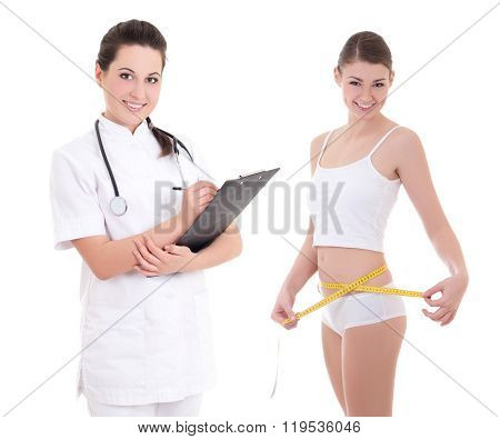 Young Female Doctor Or Dietician With Slim Woman Isolated On White