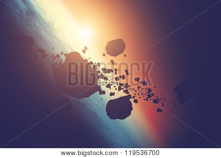 Planet and asteroids on a starry background.