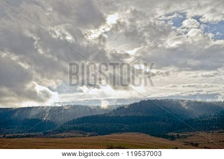 Mountain Landscape In The Early Morning Sky With Clouds