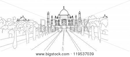 Taj Mahal Hand Drawn Ouline Vector Artwork