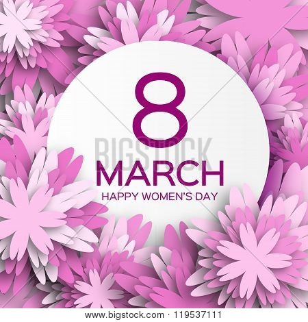 Abstract Purple Floral Greeting card - International Happy Women\'s Day - 8 March holiday background