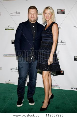 James Corden and Julia Carey at the 2016 Oscar Wilde Awards held at the Bad Robot in Santa Monica, USA on February 25, 2016.