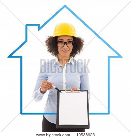 Construction And Real Estate Concept - Beautiful African American Business Woman In Builder Helmet S