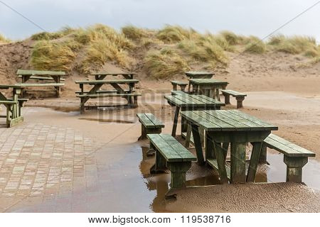 Benches And Sand Dunes