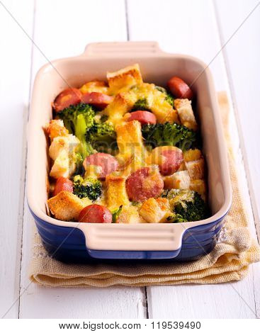 Broccoli, Sausage And Bread  Frittata Bake
