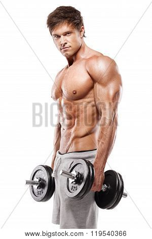 Muscular Bodybuilder Guy Doing Exercises With Dumbbells