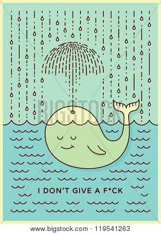 Postcard With Cute Careless Whale Baby Swimming In The Sea Under Rain Making Umbrella Out Of His Fou