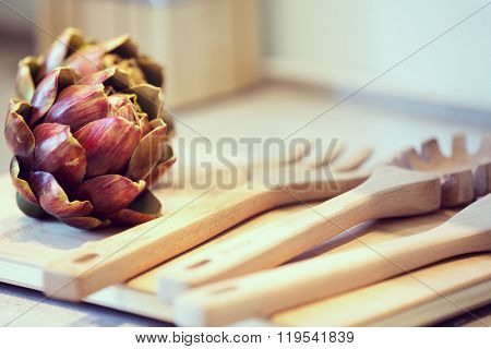 flower and cooking tools in moder n kitchen