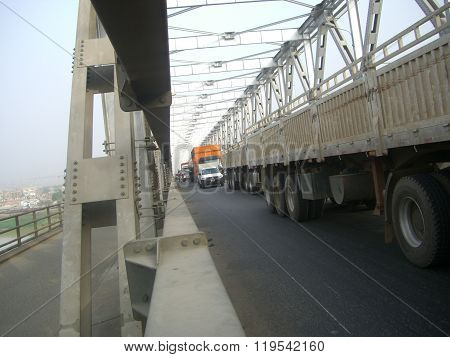 traffic jam and road block.