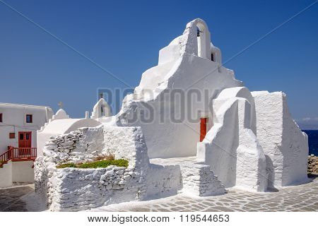 Scenic View Of Whitewashed Church Panagia Paraportiani, Mykonos, Greece