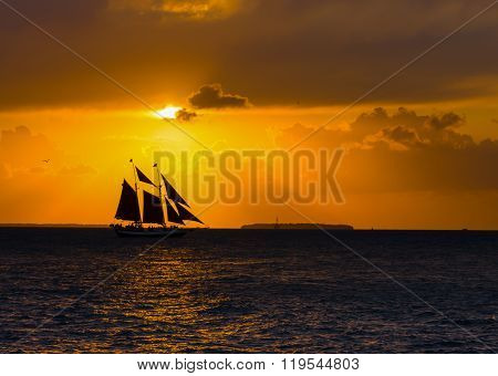Sailing Schooner Sunset