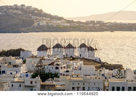 Citiscape View Of Mykonos Windmills, Greece