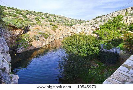 Vouliagmeni lake in Attica Greece