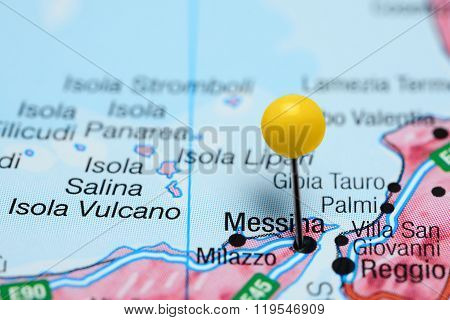 Messina pinned on a map of Italy