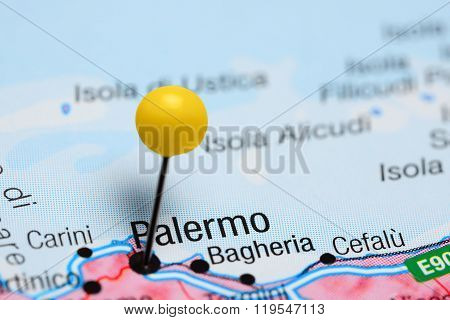Palermo pinned on a map of Italy