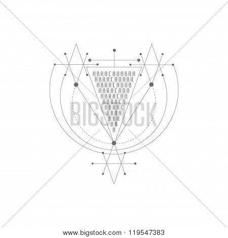 Vector magic alchemy symbol. geometric logo for spirituality, occultism, tattoo art and print. ideal