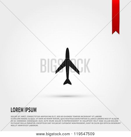 Airplane icon. Airplane icon object. Template for design.