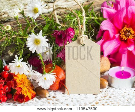 Autumn Decoration With Greeting Card