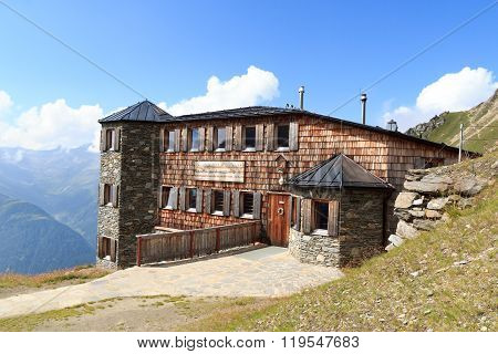 Alpine Hut Sajathutte And Mountains In The Hohe Tauern Alps, Austria