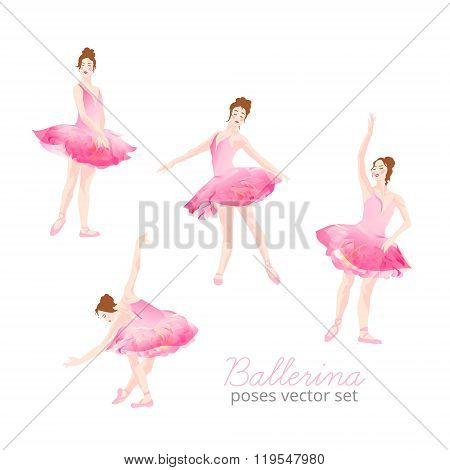Beautiful Ballerina Wearing Pink Tulle Tutu Design Vector Set