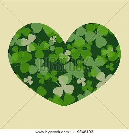 Vector St Patrick's day card. Green clover leaves on clover heart shape and white or beige backgroun