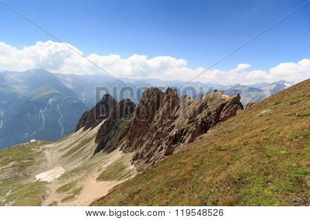 Mountain Panorama With Rote Saule And Col Sajatscharte In The Hohe Tauern Alps, Austria