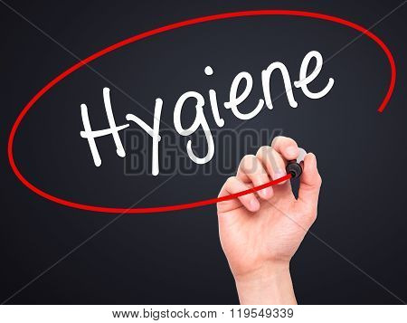 Man Hand Writing Hygiene With Black Marker On Visual Screen.