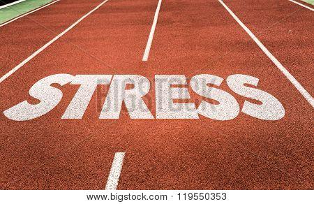Stress written on running track