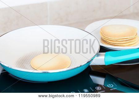 Making Home Made Pancakes On Frying Pan