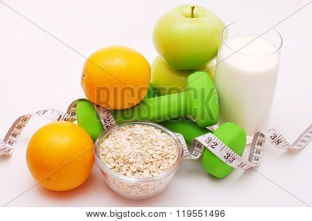 Fitness concept of a light gray background