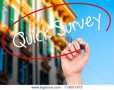 Man Hand Writing Quick Survey With Black Marker On Visual Screen.