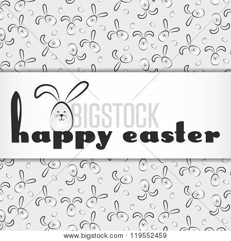 Holiday Card For Easter With Little Grey Cartoon Rabbit
