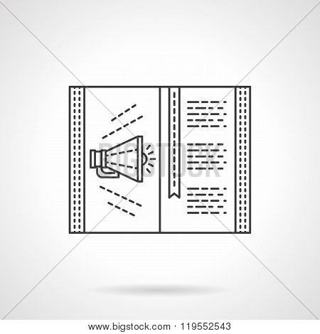 Sell ad page flat line design vector icon
