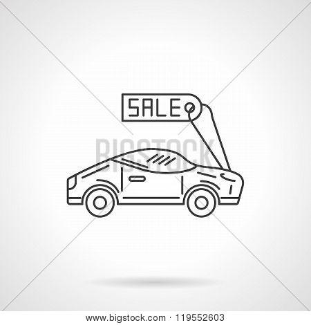 Sale sport car flat line design vector icon