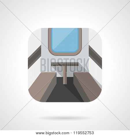 Train compartment flat color design vector icon