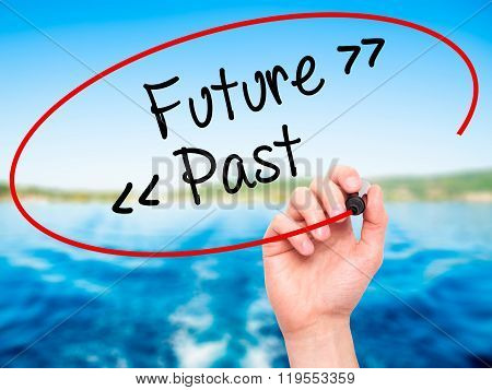 Man Hand Writing Future - Past With Black Marker On Visual Screen.