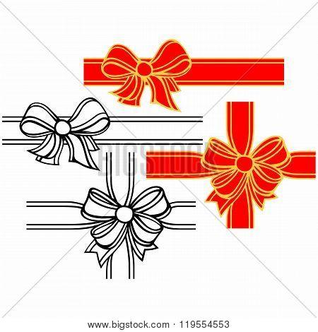 Set of satin ribbon bows