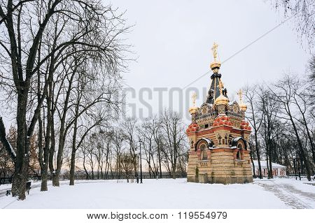 Chapel-tomb of Paskevich in Gomel, Belarus. Winter season