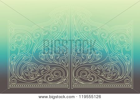 Beautiful Iron Ornament Outline Gates On Trendy Gradient Background