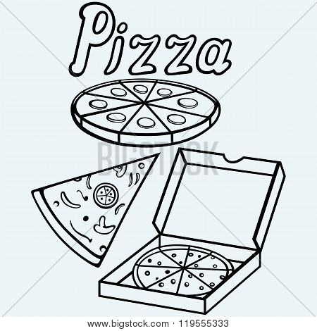 Pizza in the opened cardboard box. Whole pizza and slices. Isolated on blue background. Vector