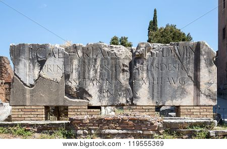 Ancient Inscription In Roman Forum
