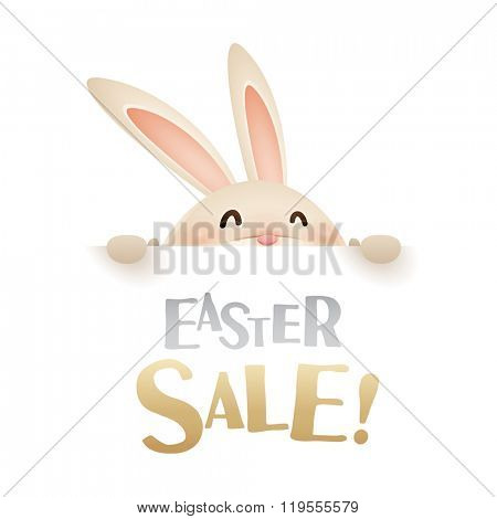 Easter Sale! Easter bunny with big sign.